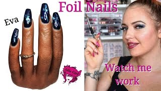 TRYING FOIL NAILS FOR THE FIRST TIME POOCHIEZ REALISTIC PRACTICE HAND EVA | IdleGirl