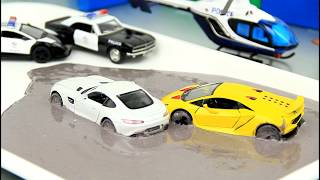 Police Cars & Helicopter vs Street Racer Cars Stuck in the Mud Video for Kids