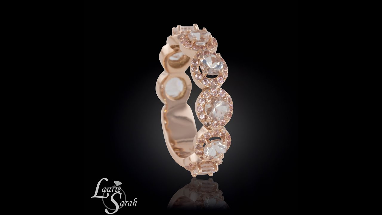 Morganite and peach sapphire wedding band in 14k rose gold LS4012