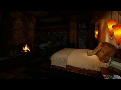 Relaxing Cozy Cabin Fireplace and Rain with Bed At Night ...