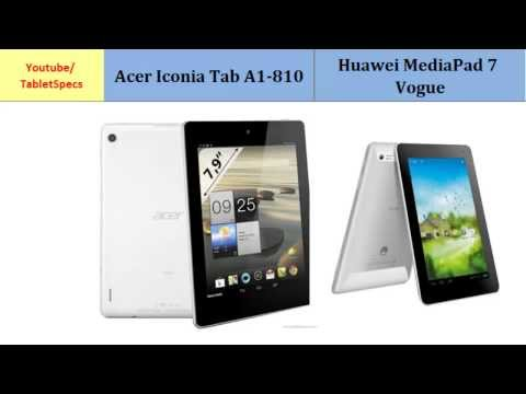 Acer Iconia Tab A1-810 & Huawei MediaPad 7 Vogue, full specs comparison
