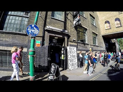London Travel. A Walk Through the Vintage Clothes and Vinyl Record Store in Brick lane