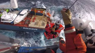 video: Watch: Dramatic rescue of crew from sinking cargo ship in North Sea