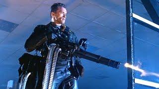 """Терминатор расстреливает полицейские машины. Фильм """"Терминатор 2: Судный день"""". 1991 год"""