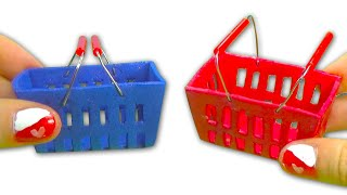 Miniature doll supermarket shopping hand basket tutorial DIY - YolandaMeow♡