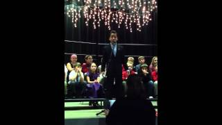 "Ayden singing ""A Cradle in Bethlehem"" 12/10/2013 Evening pe"