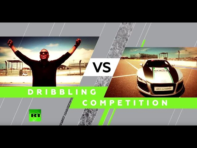 Footballer vs. racecar: Dribbling competition & speed test at Sochi autodrom