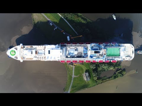 4K | Spectacular River Ems Conveyance with Amazing Aerial Shots | Huge Cruise Ship World Dream