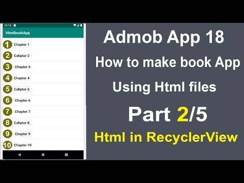 How To Show Html Files In Recyclerview || How To Make Book App Using Html || Admob App 18