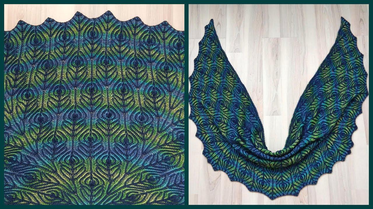 Brioche knitting *Peacock shawl* knitting patterns - YouTube