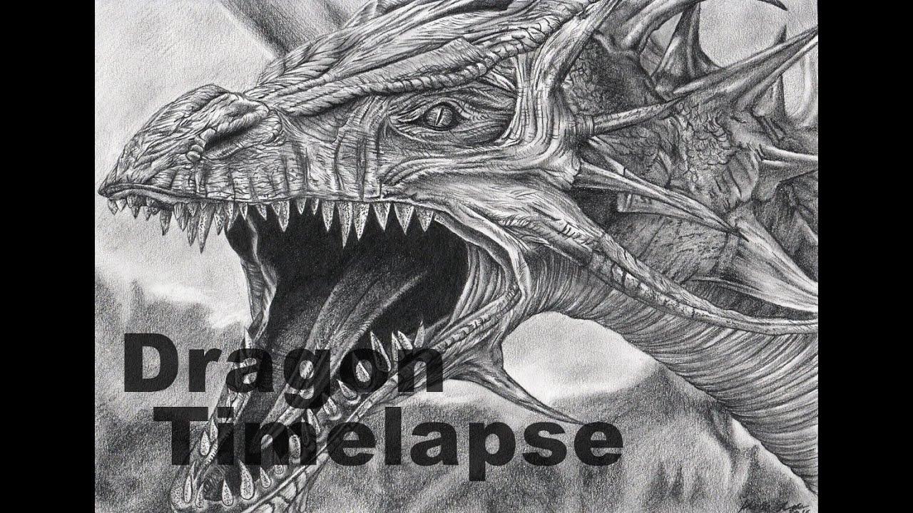 Dragon time lapse pencil drawing