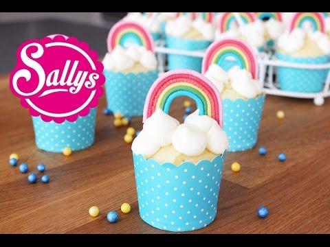 Regenbogenmuffins  Muffins mit RegenbogenDekoration aus