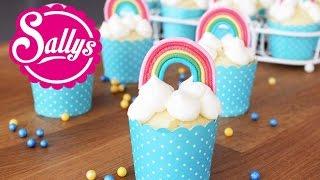 Regenbogenmuffins / Muffins mit Regenbogen-Dekoration aus Modellierschokolade