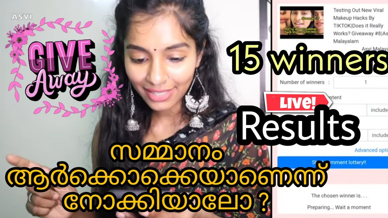 Giveaway results announcement Live results with screenshots 15 winners Asvi Malayalam