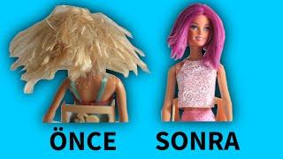 Barbie'nin Saçını Boyuyoruz Barbie Saç Bakımı Barbie Kuaförde DIY Bidünya Oyuncak