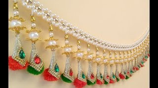 How to make a Pearl Bandhanwar at Home, DIY Easy Pearl Toran, Designer Toran Making,