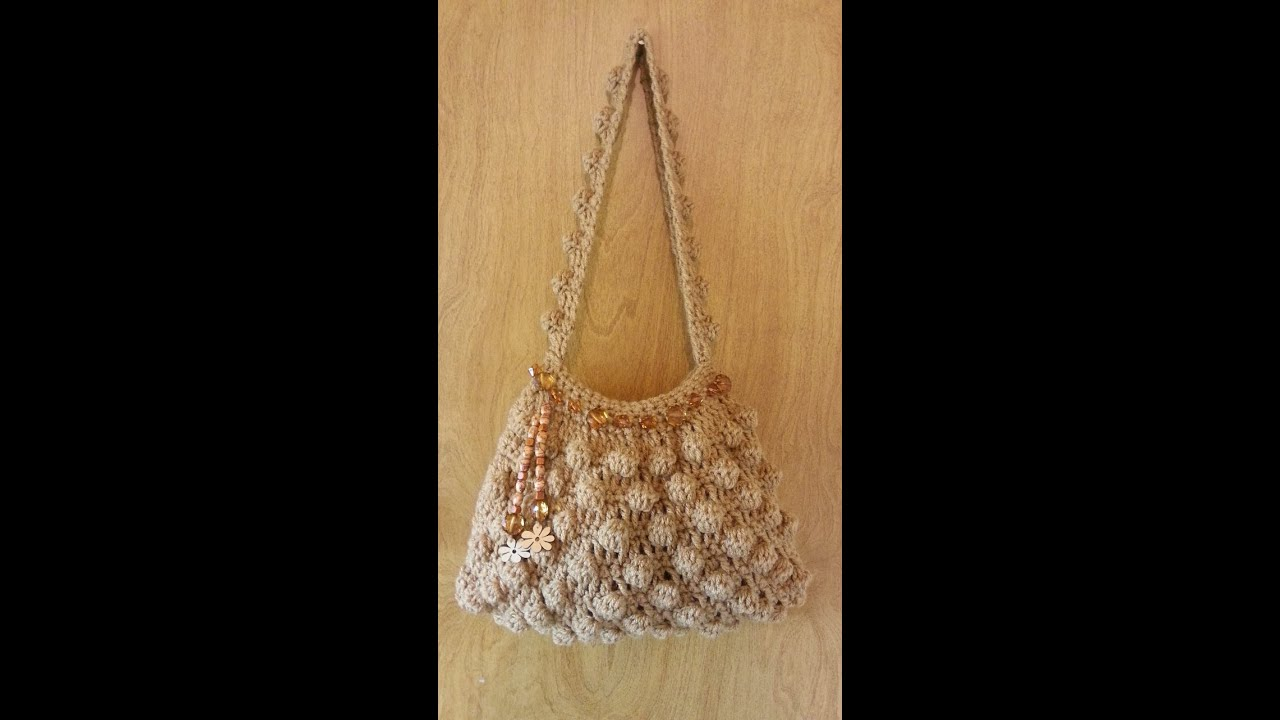 Crochet Bags And Purses Tutorial : CROCHET How to #Crochet Bobble Stitch Handbag Purse #TUTORIAL #89 ...