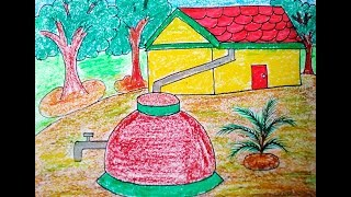 How to draw Rain water harvesting tank easily, rain water harvesting project for kids,kids projects