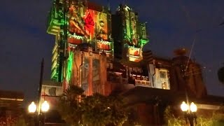 Guardians of the Galaxy - Mission: BREAKOUT! lit up at night, Disneyland