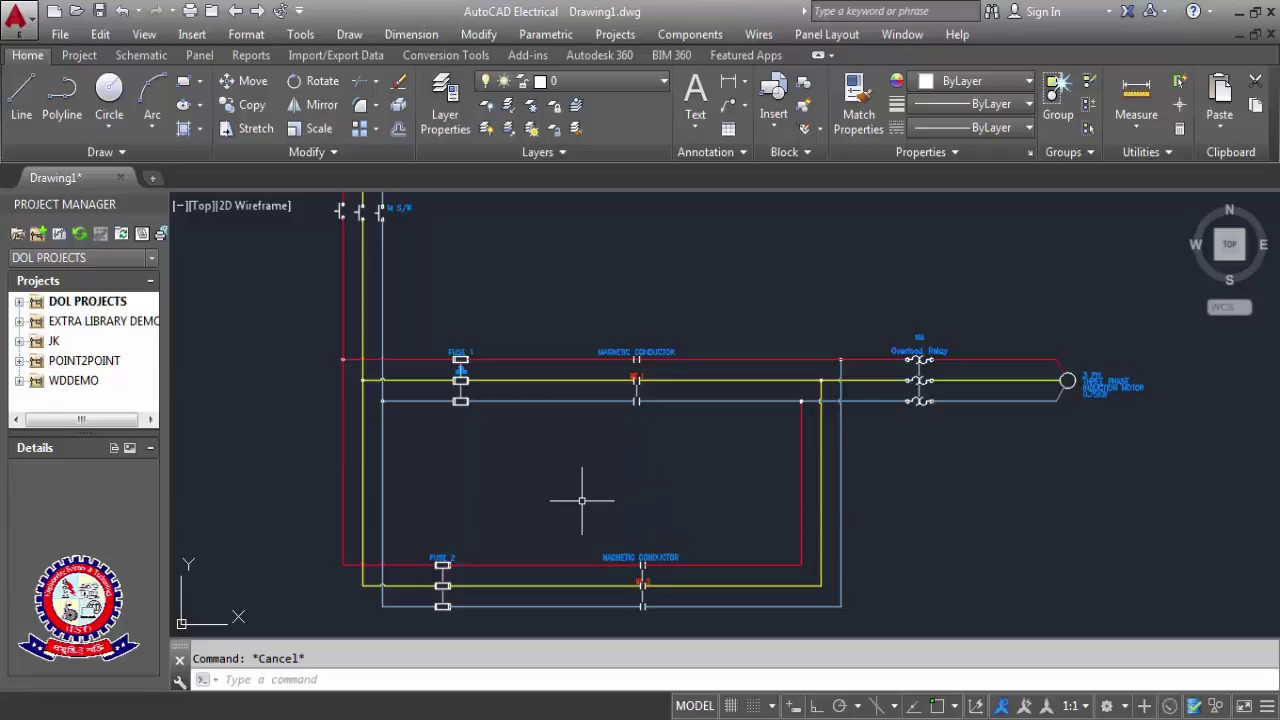 Autocad Electrical Tutorial Drawing Class 02 How To Drawings Forward Reverse Cont