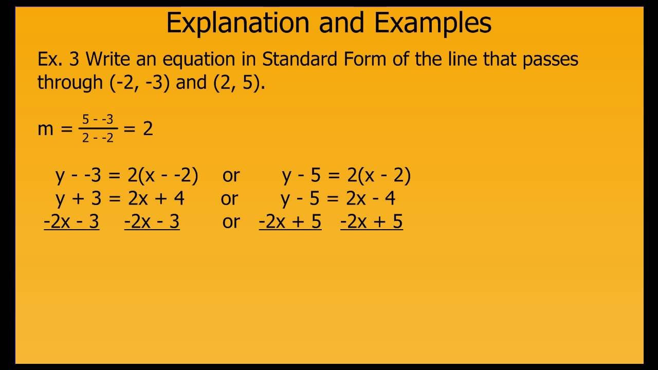 Writing Linear Equations In Standard Form Youtube