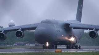 C-5 Galaxy U.S. Air Force Taxi & Take Off from Poland 【HD】