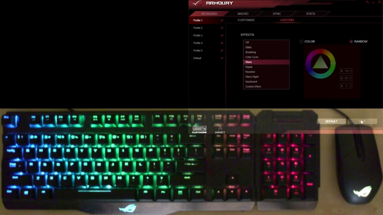 ASUS ROG Claymore RGB LED effects