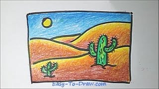 How to draw a cartoon desert step by step - Free & Easy Tutorial for Kids