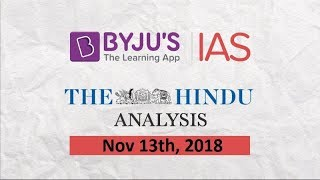 'The Hindu' Analysis for Nov 13th, 2018.