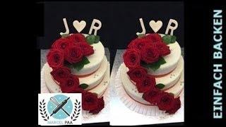 3-stöckige Hochzeitstorte mit echten Rosen I Klassische Hochzeitstorte mit echten Blumen