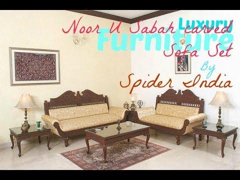 Luxury Teak Wood Fine Carved Traditional Antique Designer Sofa Set
