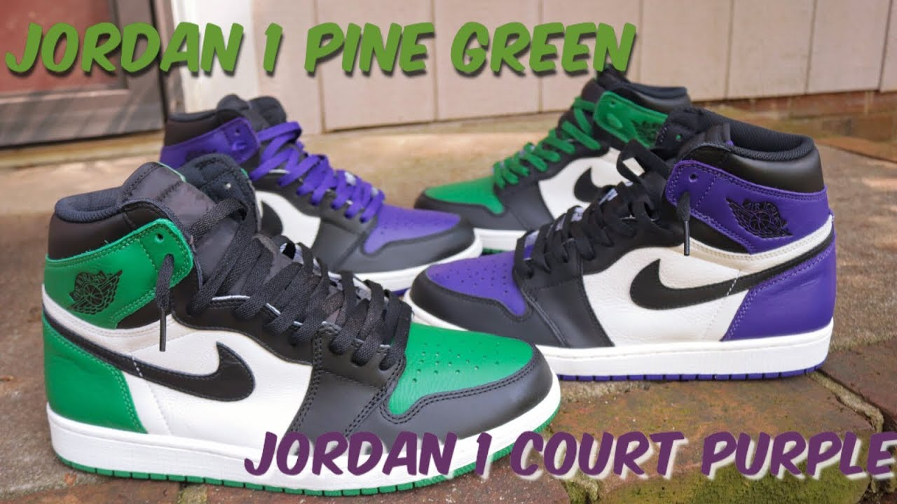 63cb911c258 AIR JORDAN 1 COURT PURPLE & PINE GREEN REVIEW & ON FEET!! - YouTube