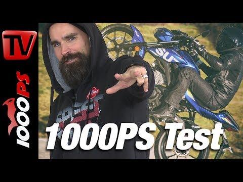 1000PS Test - Suzuki GSX-R 125 vs GSX-S 125 - Topspeed, Wheelie, Burnout, Preis