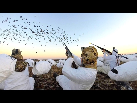 8 MAN LIMIT!!! EPIC Goose Hunting In Kansas 2017