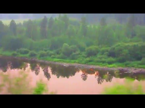 Вид из окна поезда - река Амазар на закате (Забайкальский край)