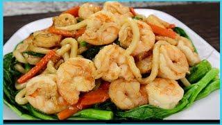 How To Stir Fried Udon Noodles w/ Shrimp & Veggies- Các Làm Mì Udon Xào Tôm