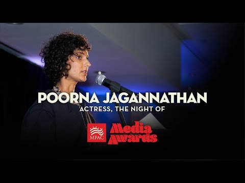 Poorna Jagannathan accepting for The Night Of  2017 MPAC Media Awards