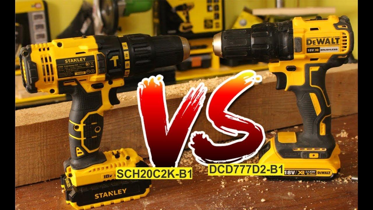 Cordless Dewalt Dcd 777 D2 Versus Stanley Sch20c2k Youtube 18v Brushless Hammer Drill