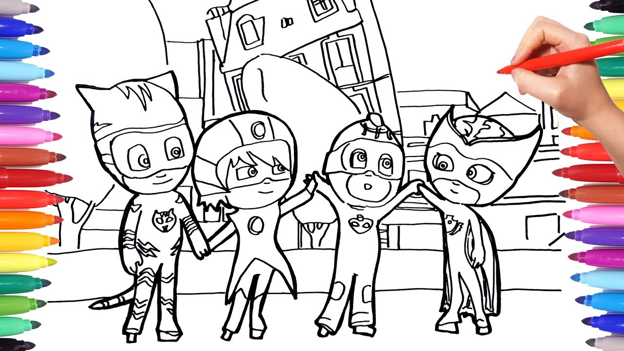 pj masks coloring memorable scene pages for kids  how to