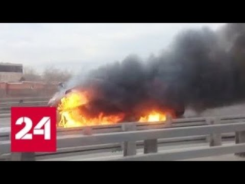 На ТТК загорелся грузовик с газовыми баллонами - Россия 24