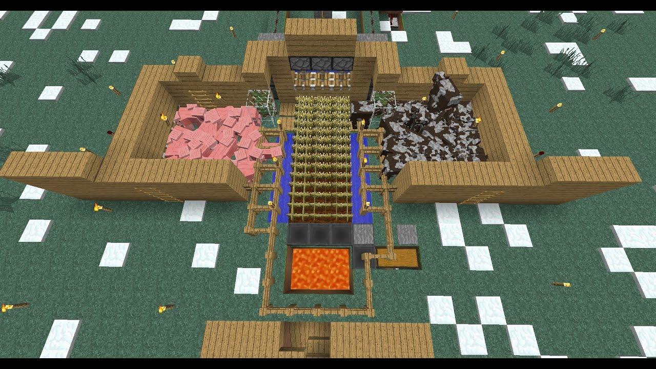 Comment faire une usine a vache cochon et bl dans minecraft youtube - Minecraft cochon ...