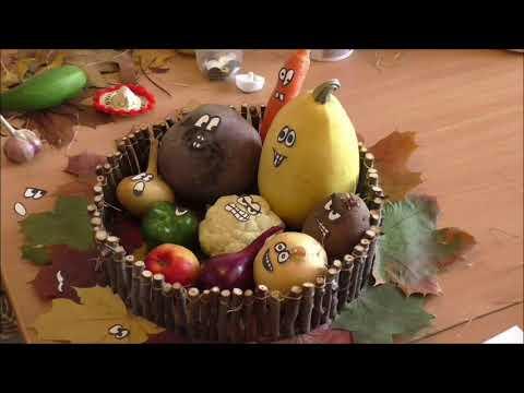 Осенние поделки из овощей и фруктов своими руками для детского сада видео