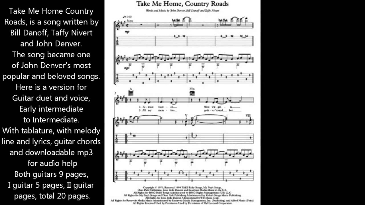 Take Me Home Country Roads Guitar Duet Music Score Youtube