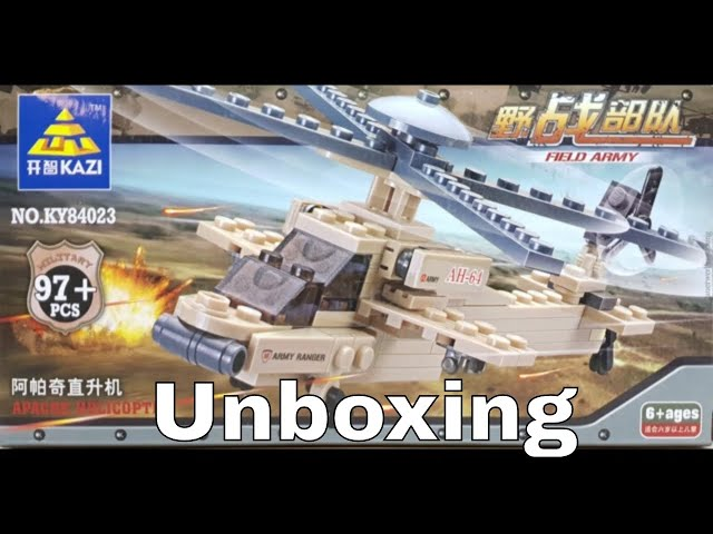 KAZI Apache Helicopter No. KY84023 Unboxing / Review