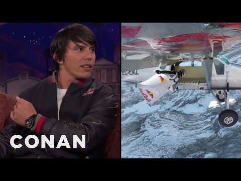 Vince Reffet & Fred Fugen Jumped From A Mountain Into A Flying Airplane  - CONAN on TBS