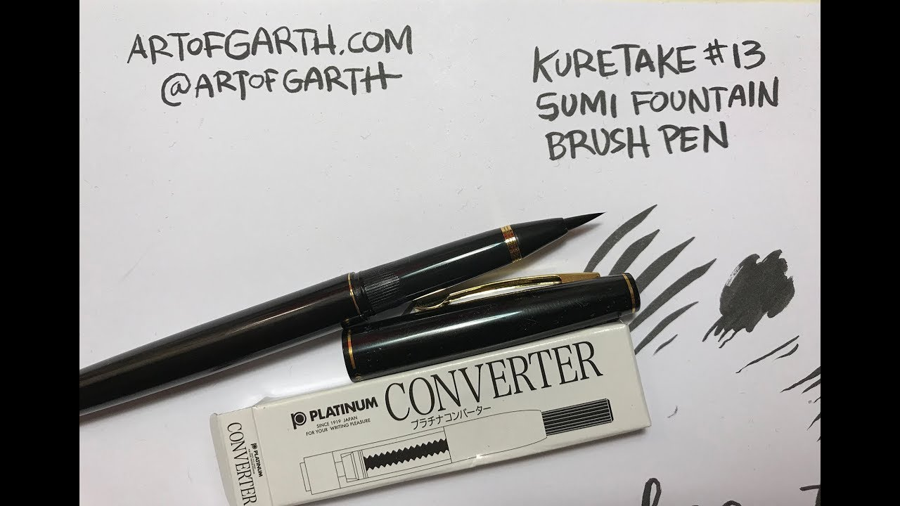 Kuretake sumi fountain brush pen review and ink converter