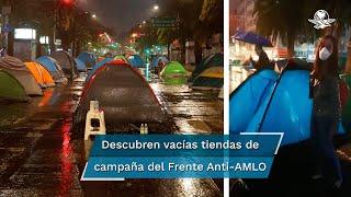 Pese a que los manifestantes advirtieron que no se retirarían del lugar, videos en redes sociales captan casas de campaña vacías instaladas sobre Avenida Juárez en la Ciudad de México