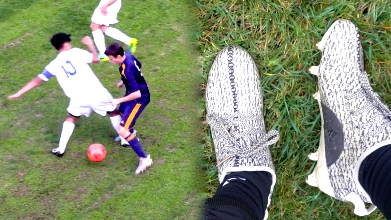 WEARING YEEZY 350 BOOTS IN A REAL GAME! (I SCORED 2 GOALS !!) - YouTube fd10ebf2b
