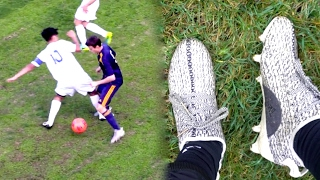 WEARING YEEZY 350 BOOTS IN A REAL GAME! (I SCORED 2 GOALS !!)
