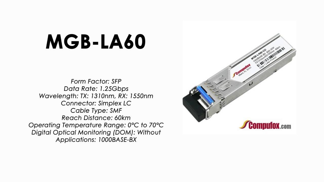 MGB-LA60 RX 1550nm 60km SMF transceiver 1310nm Planet Compatible 1000BASE-BX SFP TX